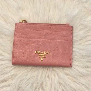 Prada Saffiano Zip Coin Purse Cardholder Pink